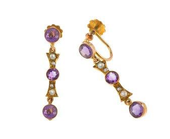 Antique Gold Amethyst & Split Pearl Earrings
