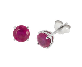 9ct White Gold Ruby Solitare Stud Earrings