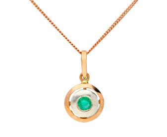 Handcrafted Rose Gold Italian Emerald Pendant