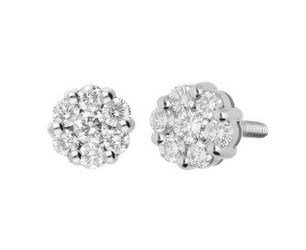 Pre-owned Platinum 0.35ct Diamond Cluster Stud Earrings