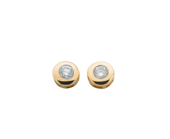 9ct Yellow Gold 0.40ct Diamond Solitaire Collet Earrings