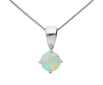 9ct White Gold 0.15ct Round Opal Solitaire Pendant
