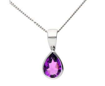 9ct White Gold 0.80ct Amethyst Solitaire Rub-over Pendant