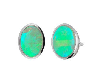 9ct White Gold 0.89ct Opal Cabochon Studs