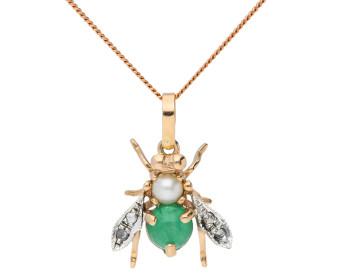 Handcrafted Italian Emerald, Pearl & Diamond Bee Pendant