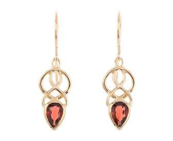 9ct Gold Garnet Celtic Drop Earrings