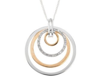 9ct White & Yellow Gold Diamond Circle Pendant