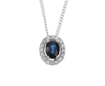 9ct White Gold Sapphire & Diamond Cluster Pendant