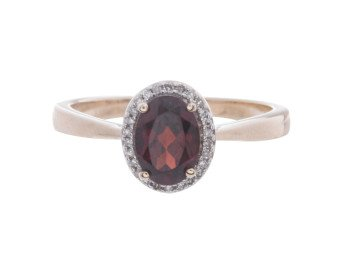 9ct Gold Garnet & Diamond Halo Ring