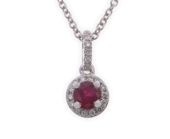 18ct White Gold Ruby & Diamond Halo Pendant