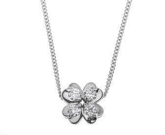 18ct White Gold 0.17ct Diamond Four Leaf Clover Pendant