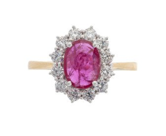 18ct Gold 0.95ct Ruby & Diamond Ring