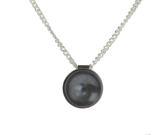 Oxidised Sterling Silver Tiny Target Pendant
