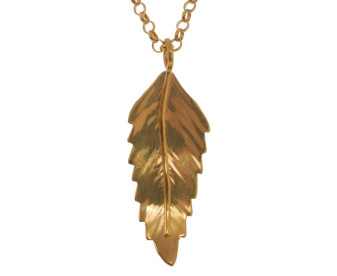Sterling Silver & Yellow Gold Vermeil Rowan Leaf Pendant