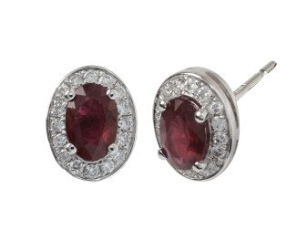 18ct White Gold 1.11ct Ruby & Diamond Earrings