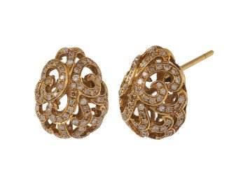 18ct Gold & Diamond Whispering Small Hollow Tear Earrings