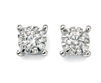 9ct White Gold Diamond Halo Earrings