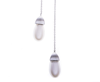 Sterling Silver Pearl Lariat Necklace
