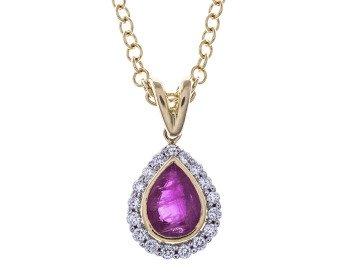 18ct Gold Ruby & Diamond Pendant