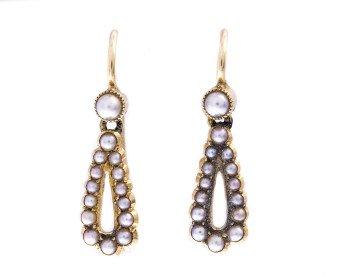 Antique Victorian Gold Split Pearl Drop Earrings
