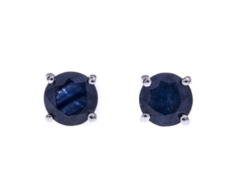 9ct White Gold 1.50ct Sapphire Solitaire Stud Earrings