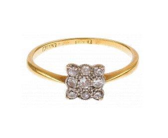 Vintage 18ct Yellow Gold & Platinum 0.25ct Diamond Cluster Ring