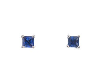 9ct White Gold 0.30ct Sapphire Solitare Stud Earrings