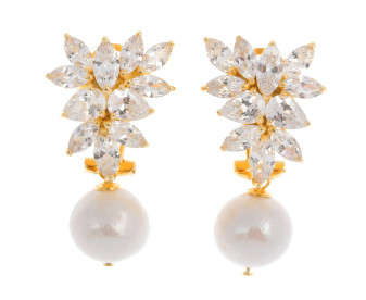 Silver & Yellow Gold Plated Edison Pearl & Cubic Zirconia Fancy Earrings