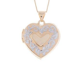 9ct Yellow & White Gold Heart Locket