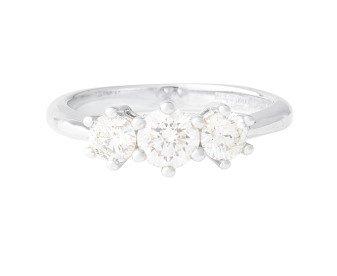 18ct White Gold Certified 0.75ct Diamond Trilogy Ring