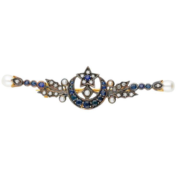 Pearl, Sapphire & Diamond Moon Bar Brooch