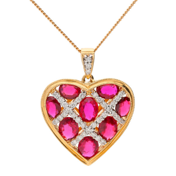 44bc4662ff5c 18ct Yellow Gold 2.45ct Ruby   0.20ct Diamond Heart Pendant