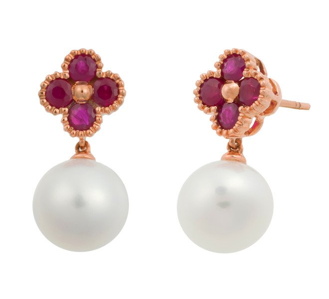 Limited Edition 18ct Rose Gold 1ct Ruby 9 5mms Freshwater Pearl Drop Earrings