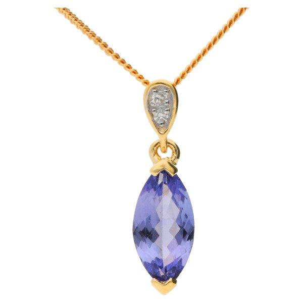 9ct Gold Tanzanite & Diamond Pendant