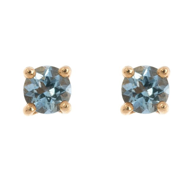 051294a05f377 9ct Yellow Gold 0.20ct Round Aquamarine Solitaire Stud Earrings ...