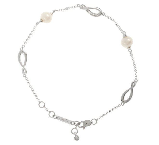 9ct White Gold Diamond & Cultured Pearl Infinity Bracelet