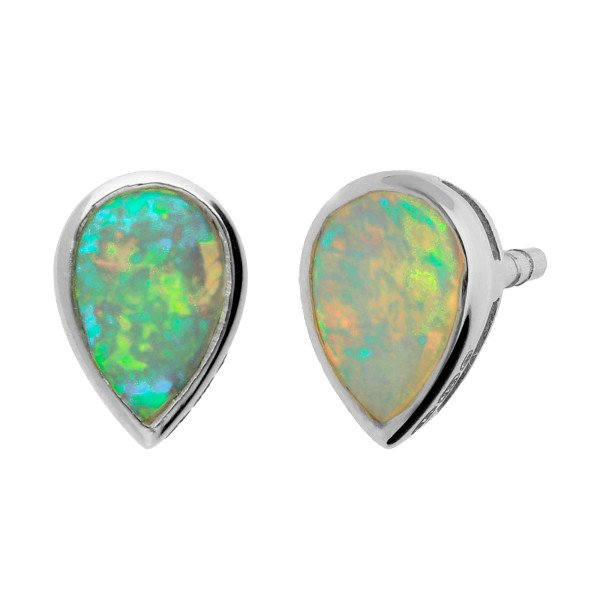 9ct White Gold 6mm Opal Solitaire Pear Shape Stud Earrings