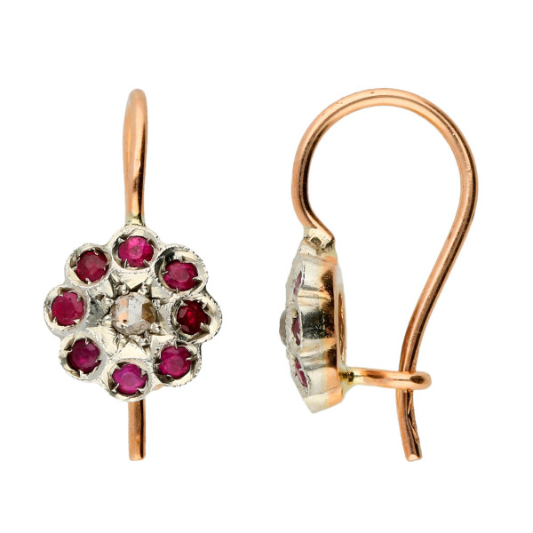 Handcrafted Italian Diamond & Ruby Floral Drop Earrings