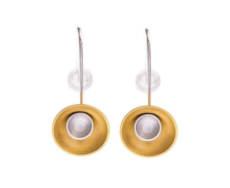 Sterling Silver & Gold Vermeil Large Target Drop Earrings