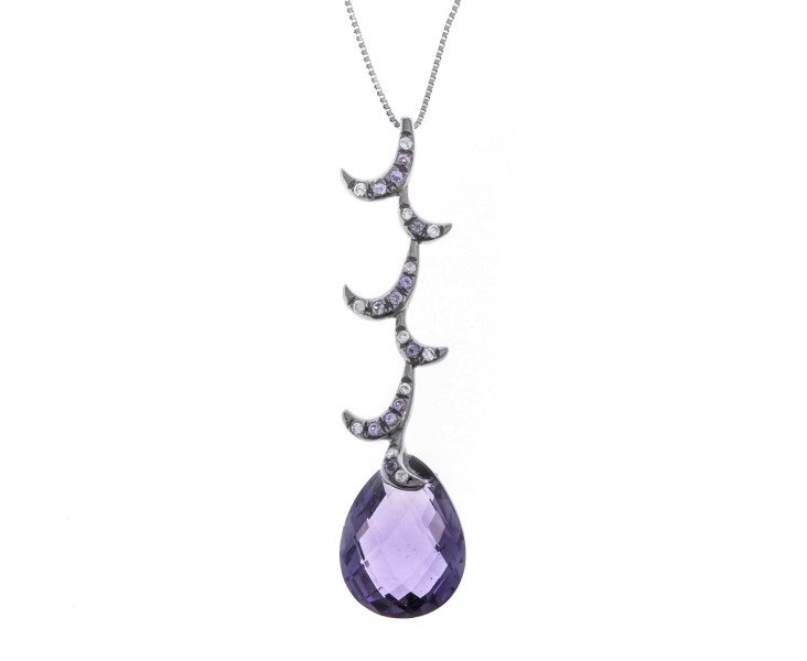 18ct Gold & Amethyst Whispering Tear Drop Necklace