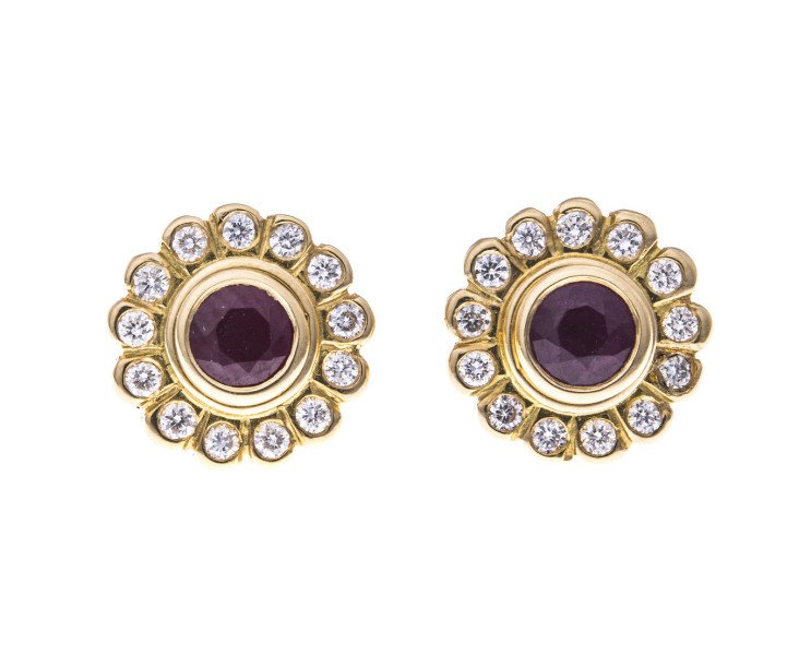 18ct Gold Ruby Stud Earrings With Detachable Diamond Halos