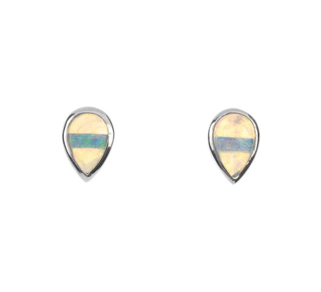 9ct White Gold Opal Solitare Stud Earrings