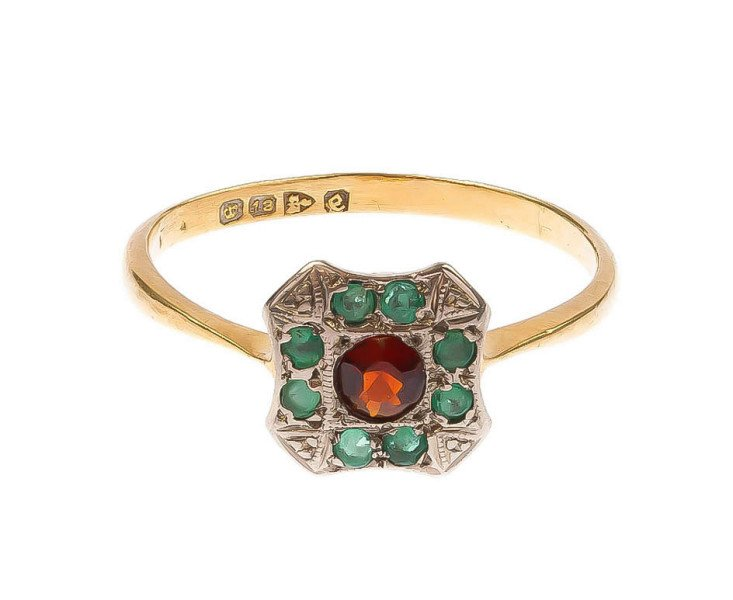 Vintage Art Deco 18ct Yellow gold 0.15ct Garnet & Emerald cluster ring
